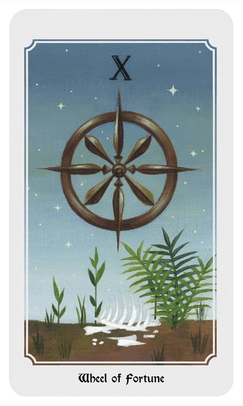 Wheel of Fortune: Life cycles, destiny, ups and downs, karma. From the Anima Mundi tarot deck.