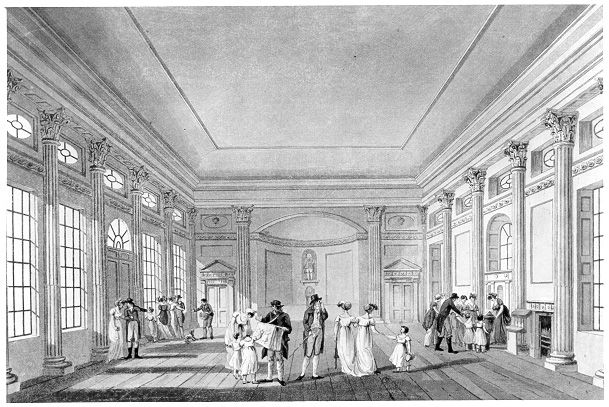 Drawing of the Pump Room, Bath by Palmer. Originally called the Lower Rooms.