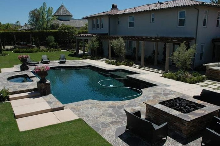 Stunning Backyard With Pool Hot Tub Covered Patio And