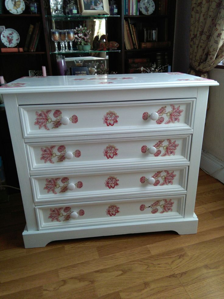 Painted and decoupaged chester drawers