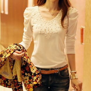 2016 Brand Autumn Spring New Women's Casual Shirt Lace Tops Cute Elegant Long Sleeves Blouses YO9