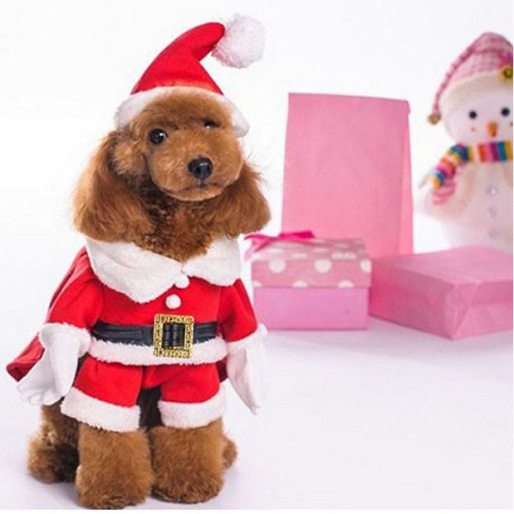 Christmas Costumes Puppy Pet Dog Santa Clothing Winter Warm Christmas pet Cloth FG