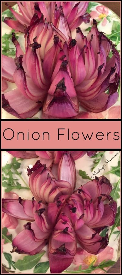 "Onion Flowers - An Easy + Beautiful Recipe -- Just 5 ingredients (including salt & pepper!) in this gorgeously healthy ""blooming onion"" alternative. Naturally gluten free, dairy free."