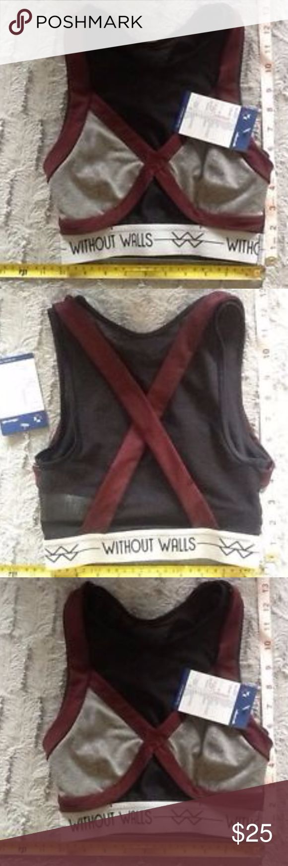 Urban Outfitters Without Walls Grey Sports Bra xs Urban Outfitters Without Walls Grey Sports Bra Black Mesh xcross back NWT xs Urban Outfitters Other