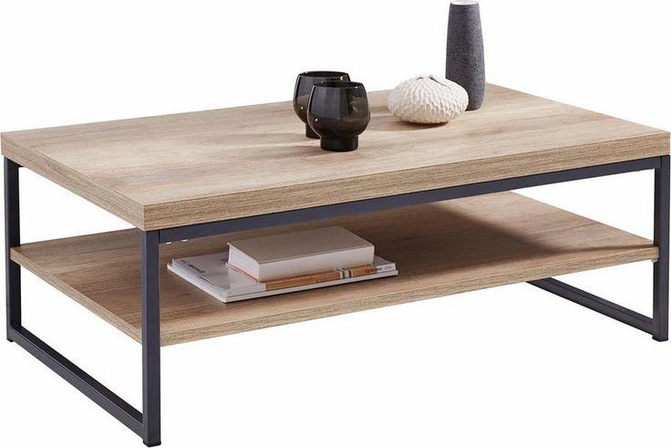 Ein echter Hingucker in jedem Wohnzimmer ist dieser moderne Couchtisch, der sich mit einer Vielzahl von Einrichtungsstilen kombinieren lässt. Das moderne Design zeichnet sich durch einen harmonischen Kontrast der Tischplatte aus hellem Holzwerkstoff und dem Gestell aus dunklem Metall aus.