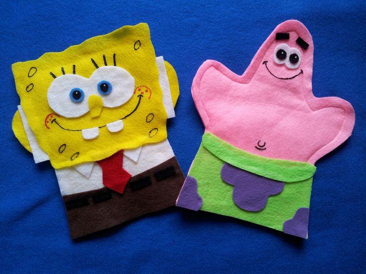 Sponge Bob and Patrick Hand Puppets #spongebob #puppet #felt