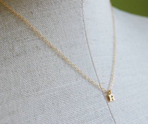 Tiniest Gold Initial Necklace >> I love this! So simple and delicate.