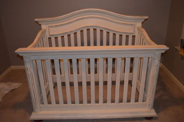 Painted/distressed crib with Annie Sloan's Old White Chalk paint