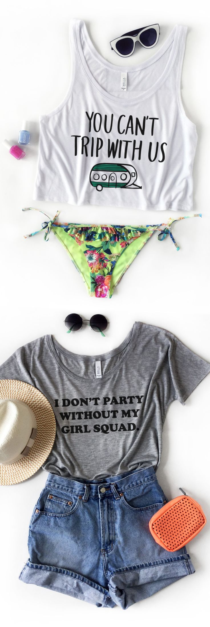 Summer 2016 outfits for you and your bff. You can't trip with us crop top. I don't party without my girl squad flowy tee. #bestfriends teesandtankyou.com