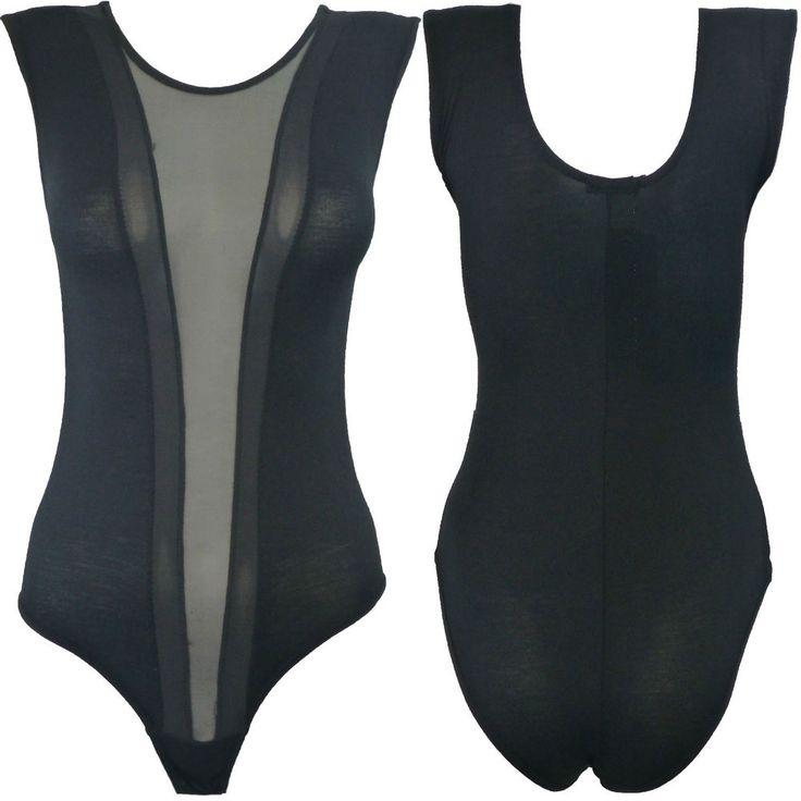 Womens Mesh Insert Panel Bodysuit Ladies Sexy Sleeveless Sheer Leotard 8-14