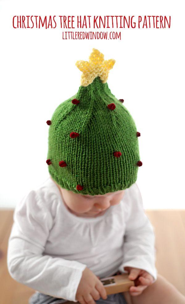 Cute Christmas Tree Hat Free Knitting Pattern!   littleredwindow.com