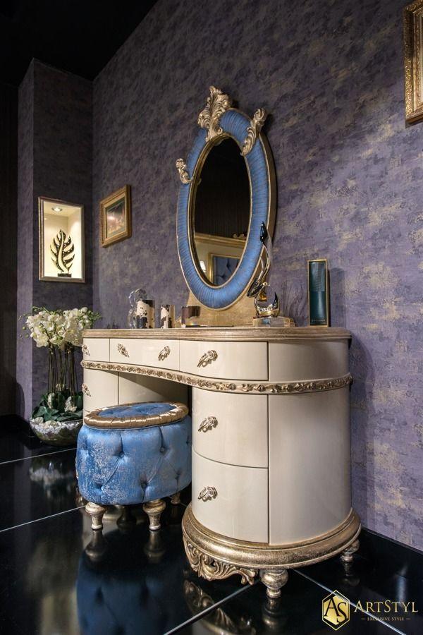 Toaletka do sypialni z lustrem i pufą Narrisa