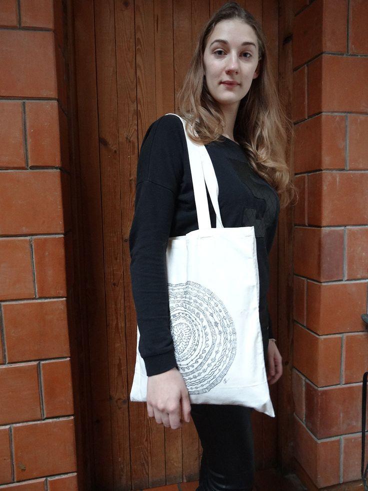 Tote bag with mandala print/ Mandala print/ Hand made linocut/
