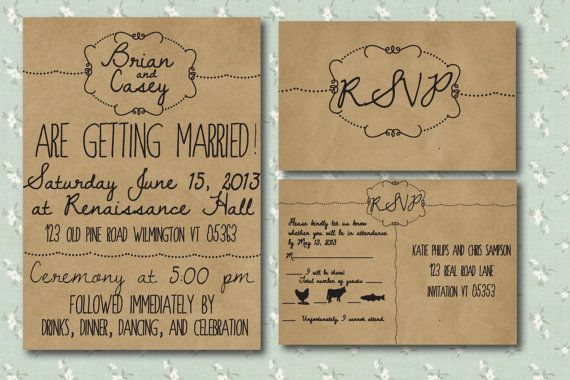 Printed Wedding Invitation with RSVP postcard - Hand Drawn Style. $4.50, via Etsy.