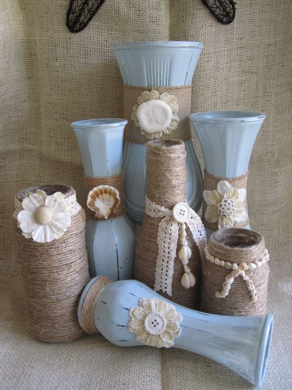 7 shabby chic beachy painted upcycled vases. Each vase was carefully chosen and first painted with milk glass, then a pale shade of blue in chalk