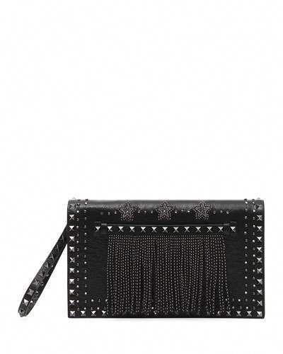 b7726276fe Valentino Rockstud Beaded Leather Wristlet Clutch Bag #Designerhandbags