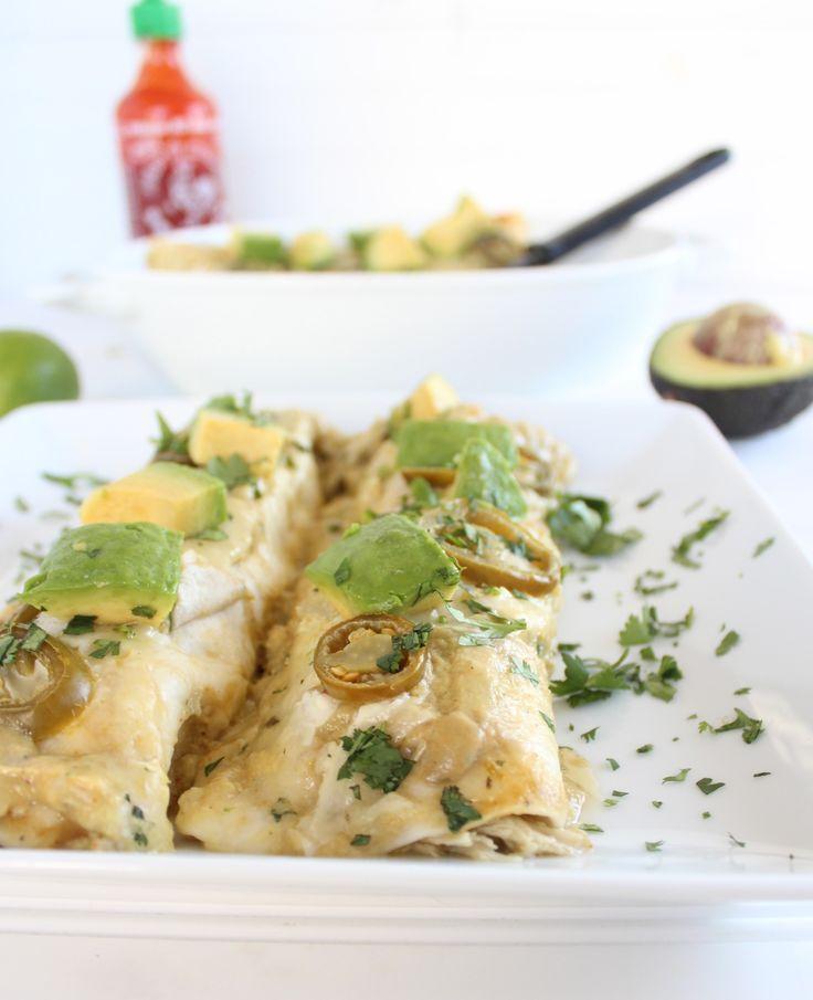 Creamy Avocado Chicken Enchiladas