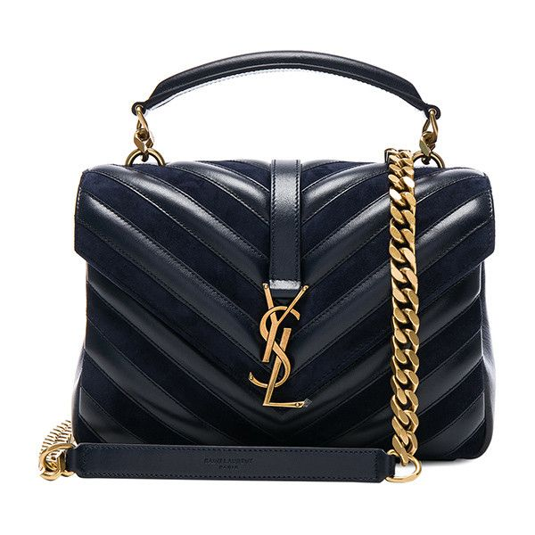 Saint Laurent Medium Leather & Suede Patchwork Monogramme College Bag ($2,490) ❤ liked on Polyvore featuring bags, handbags, handbag purse, hand bags, blue purse, patchwork leather handbags and genuine leather handbags