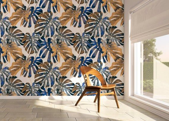 Removable Wallpaper Peel And Stick Wallpaper Wall Paper Wall Mural Tropical Autumn Leaves Wallpape Removable Wallpaper Wall Wallpaper Autumn Leaves Wallpaper