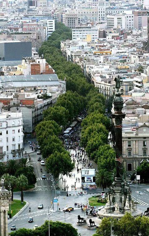 La Ramblas (pedestrian street) - Barcelona, Spain