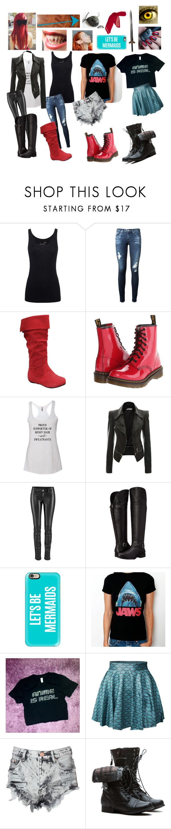 """""""Undertale: Undyne"""" by cartoonvillian ❤ liked on Polyvore featuring Juvia, AG Adriano Goldschmied, Dr. Martens, Naturalizer, Casetify, Glamorous and Villain"""