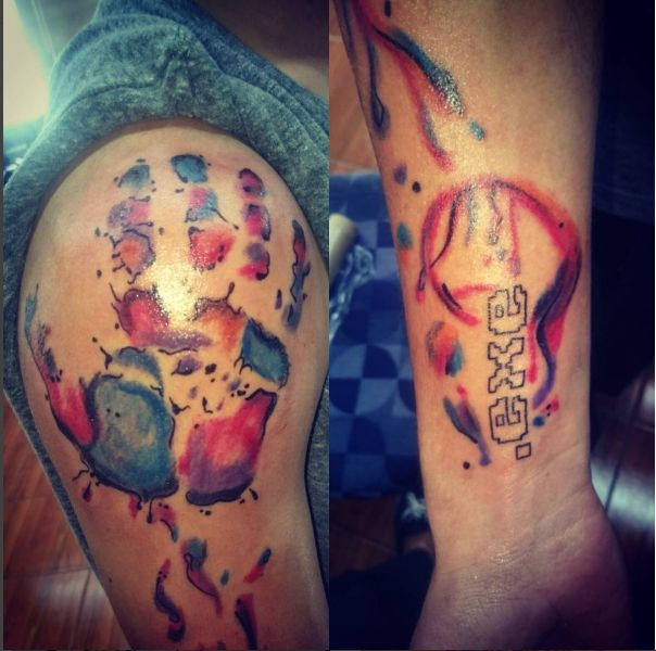 Water color hand pint with writing shoulder tattoo. Artist: Kegan Neuper.  Style Ink Tattoos