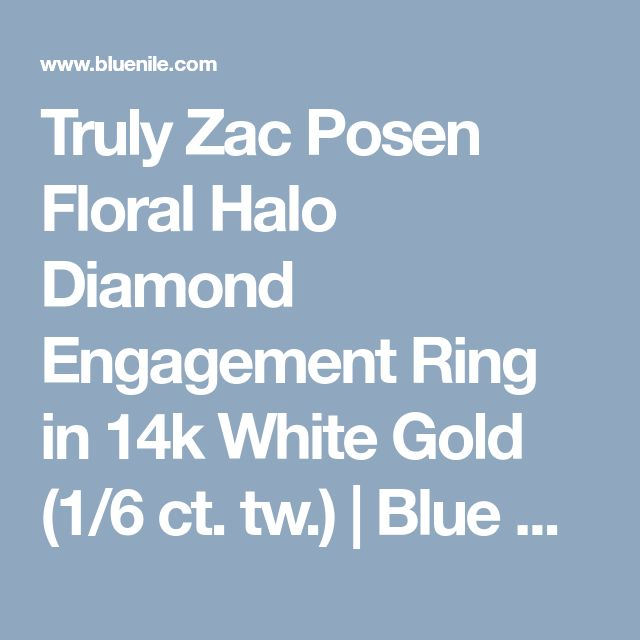 Truly Zac Posen Floral Halo Diamond Engagement Ring in 14k White Gold (1/6 ct. tw.) | Blue Nile