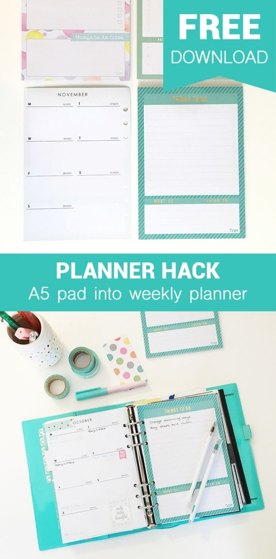 FREE DOWNLOAD Planner Hack Weekly insert onthe back on A5 note pads {Project…