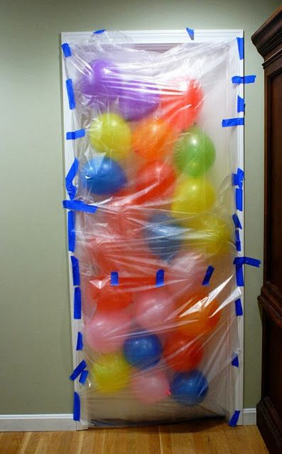 When the child opens the door the morning of their birthday they get an avalanche of balloons! Love it!