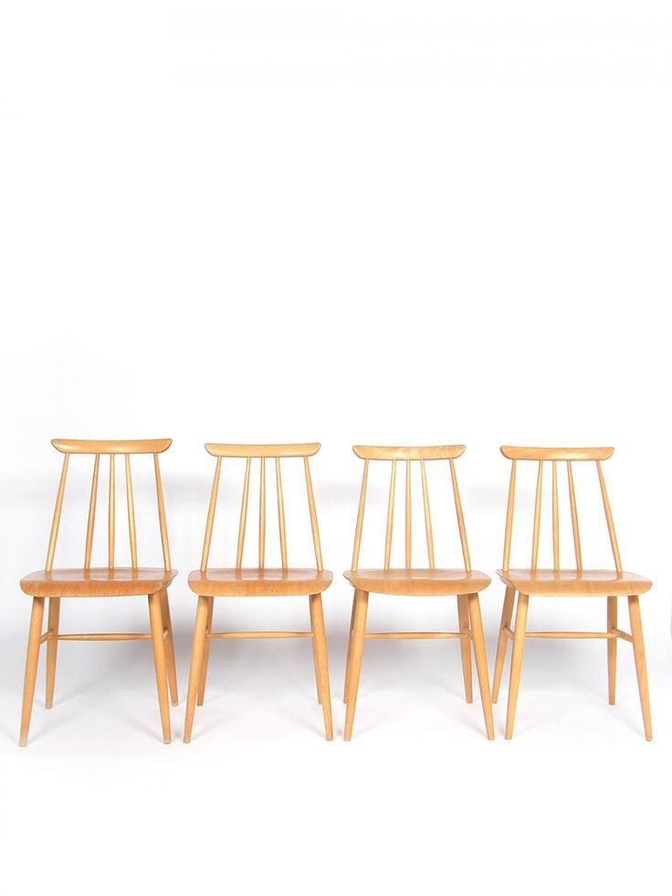 Vintage Scandinavian Dining Chairs in Beech Plywood from Møbelfakta, Set of 4 1