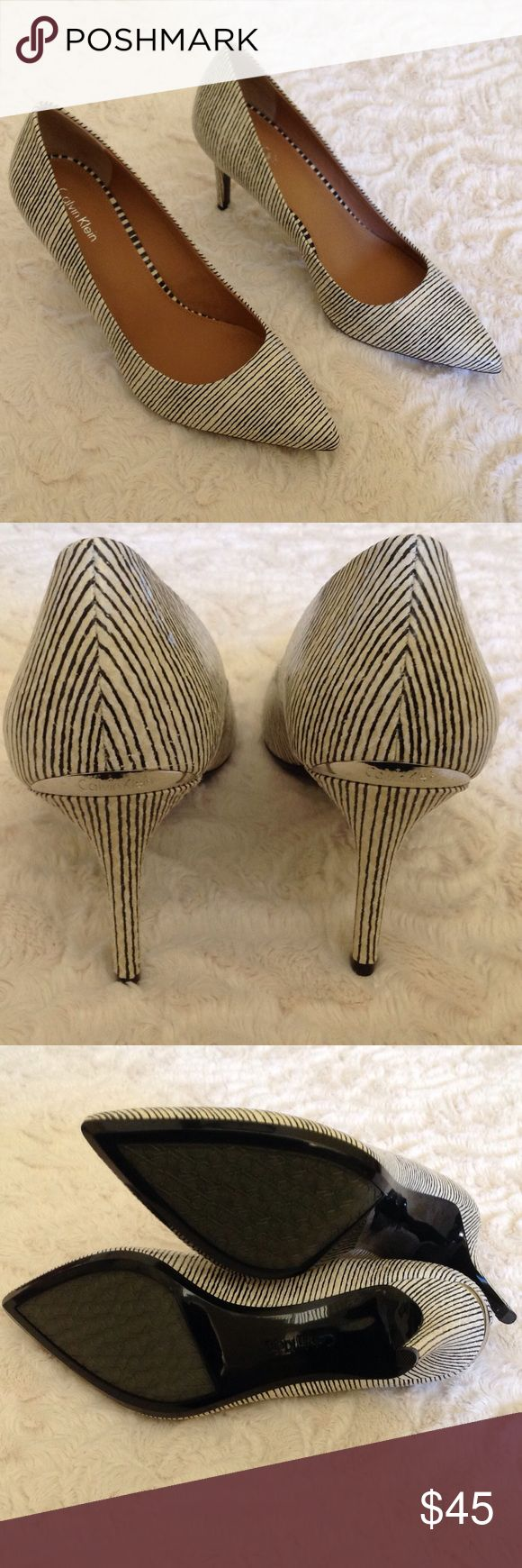 NWOB Calvin Klein Gayle Striped Pumps size shoes These shoes are new without the box.  Leather,3 inch heel. Calvin Klein Shoes Heels