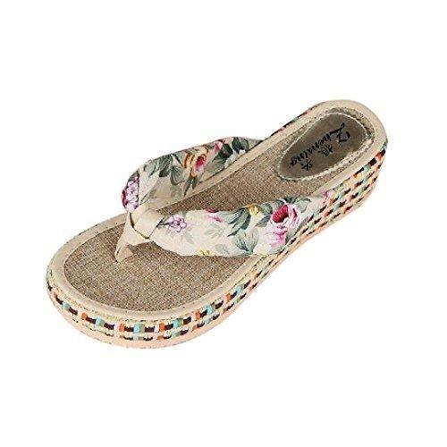 Oferta: 6.3€. Comprar Ofertas de Rawdah La mujer de cuña Plataforma Thong chanclas playa casual Zapatillas Zapatos (37, Beige) barato. ¡Mira las ofertas!