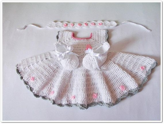 Crochet Baby Shower Dress Shoes Headband Set Baby Outfit