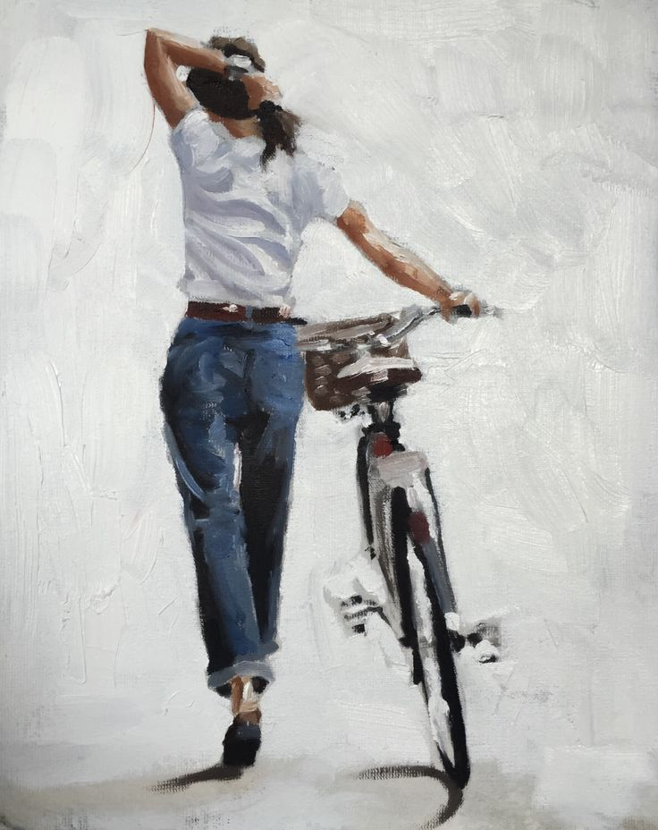 Woman Bicycle Painting Woman Bicycle Art PRINT Woman Walking With Bicycle – Art Print – from original painting by J Coates