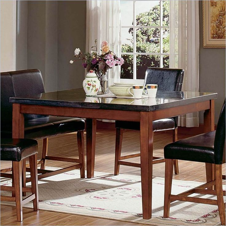 steve silver bello granite square counter height dining table in cherry - Kitchen Table Granite