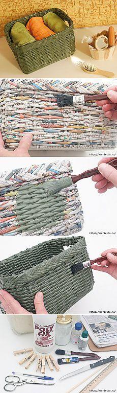 Плетение из газет. Корзинка для полотенец в ванную
