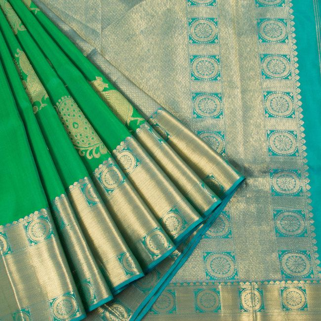 Ghanshyam Sarode Pigment Green Handwoven Kanchipuram Silk Saree with Peacock Motifs 10003481 - profile - AVISHYA.COM