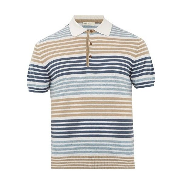Etro Striped cotton and cashmere polo shirt (745 AUD) ❤ liked on Polyvore featuring men's fashion, men's clothing, men's shirts, men's polos, white multi, mens striped shirt, mens striped polo shirts, etro mens shirt, mens stripe shirts and mens polo shirts