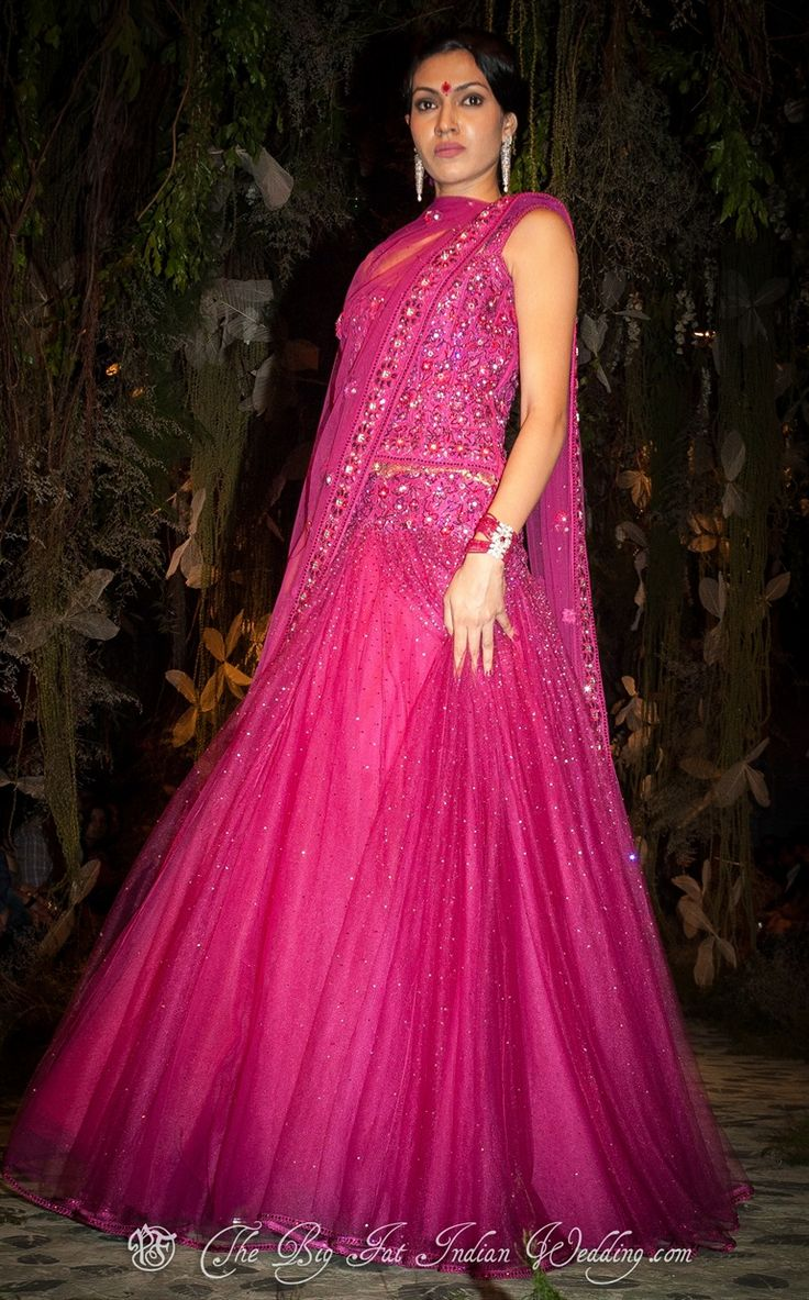 Hot Pink Lengha by Tarun Tahiliani | India Fashion Bridal Week