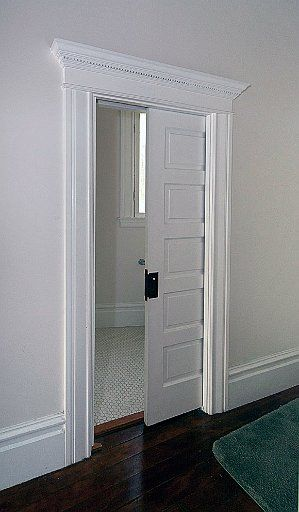 POCKET DOORS:  Give any room more space with pocket doors!  Traditional swinging doors take up valuable floor and wall space.  Pocket doors are designed to offer maximum space saving by freeing up previously unusable floor and wall space.  Particulary useful any place where floor space is at a premium. - Johnson Hardware®