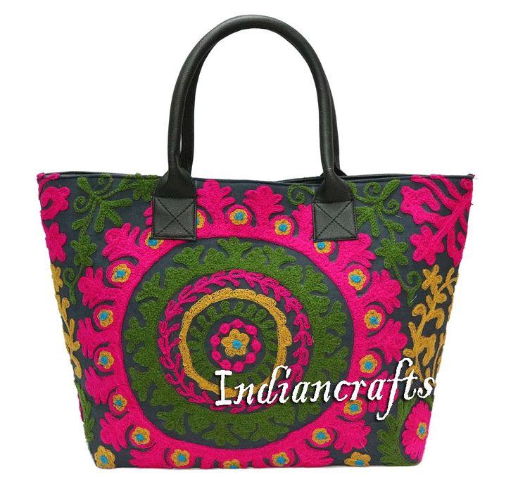 Hippie Indian Embroidered Bag Handmade Cotton Bag Woman Shoulder Bag Boho Tote #Handmade #ShoulderBag