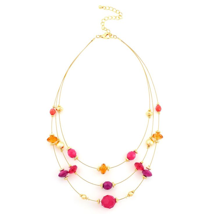 Fashion Multi Colored Illusion Necklace With Gold Women's Girl'S Gift For Her