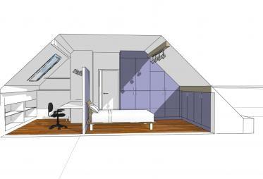 Aménagement de combles en bureau, chambre et salle de bain.