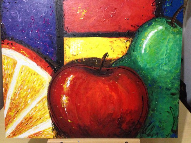 Por fin terminado  Frutas estilo moderno Acrílico y rebordeadores Autora Arq Karina Burgos