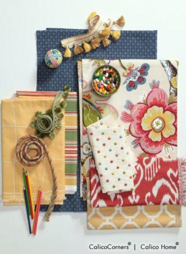 Fanfare Fabric Collection Truro in Cobalt. Bowline in Lemon. Loretta Stripe in Multi. Wonderland in Pearl. Dotti II in Confetti. Indo in Poppy. Plateau in Lemon.