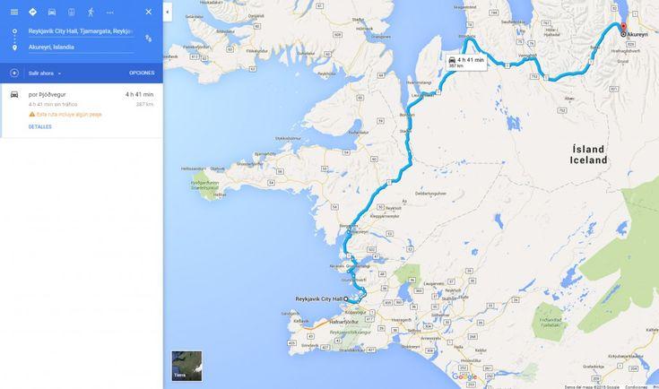 Google Maps, muy útil para calcular distancias y planificar rutas en Islandia