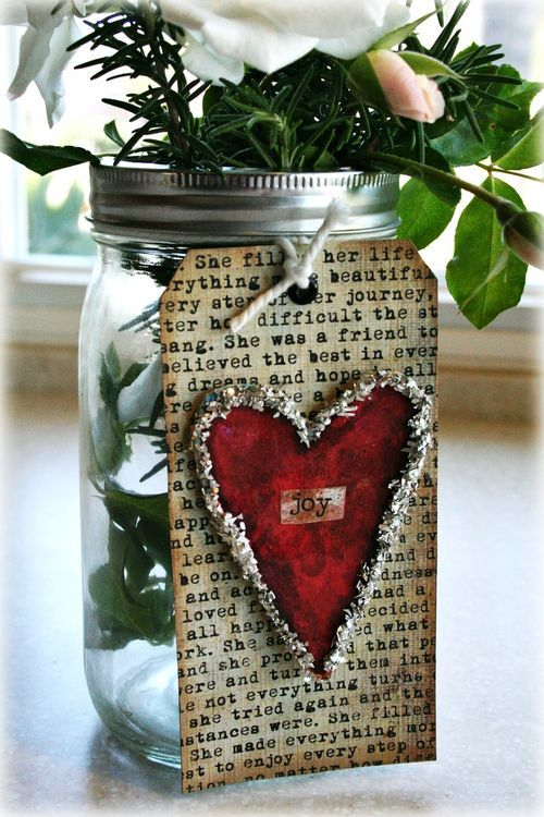heart tag....so pretty!: Heart Tags, Ideas, Christmas Jars, Valentines Gifts, Valentines Day, Gifts Tags, Mason Jars, Masonjar, Heart Cards