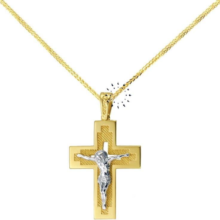 Σταυρός 14Κ Χρυσό και Λευκόχρυσο της FaCaDoro  505€  http://www.kosmima.gr/product_info.php?products_id=15838