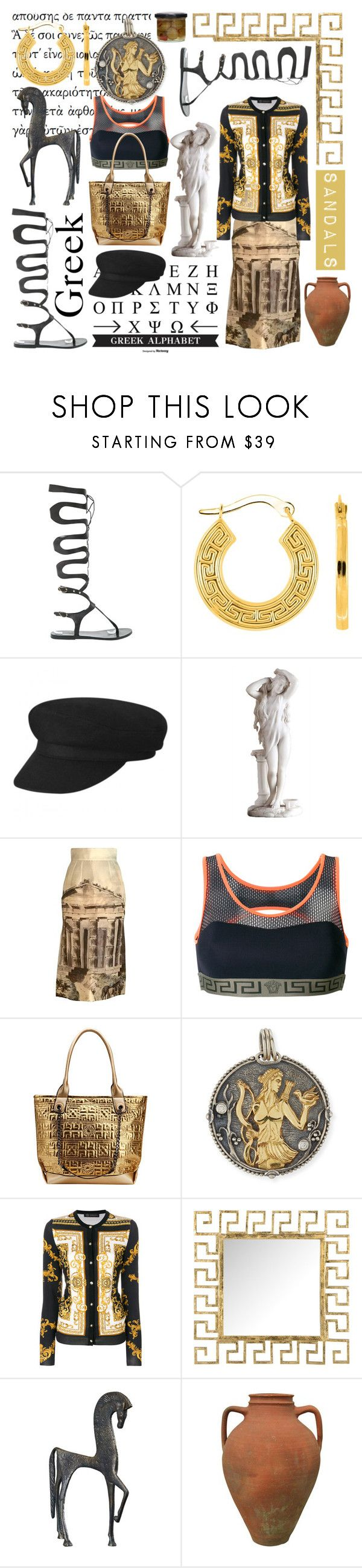"""""""Sandals Black: Greek Style"""" by cigoehring ❤ liked on Polyvore featuring Ancient Greek Sandals, Dolce&Gabbana, Versace, MKF Collection, Konstantino and Safavieh"""
