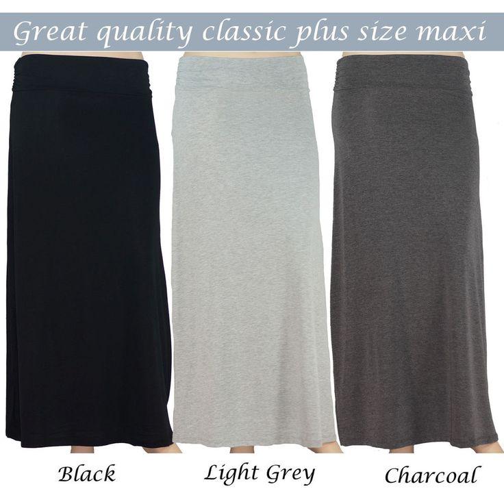 Womens Plus Size Maxi Skirt Solid Boho Plain 1X 2X 3X XL XXL